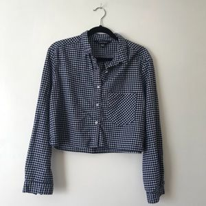 American apparel cropped gingham button down top